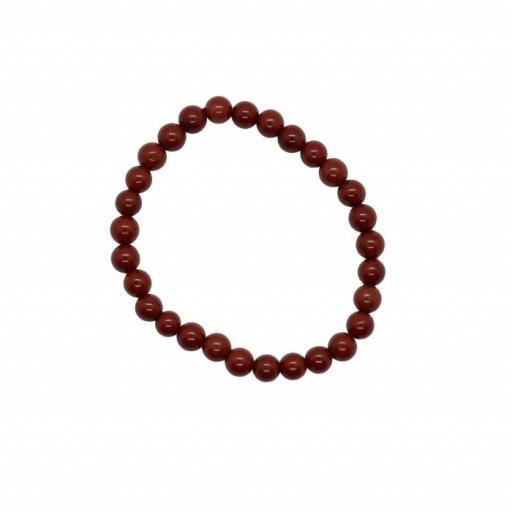 Pulsera mineral bola 6 mm de jaspe rojo