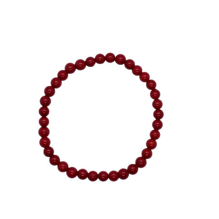 Pulsera mineral bola de coral bambú rojo