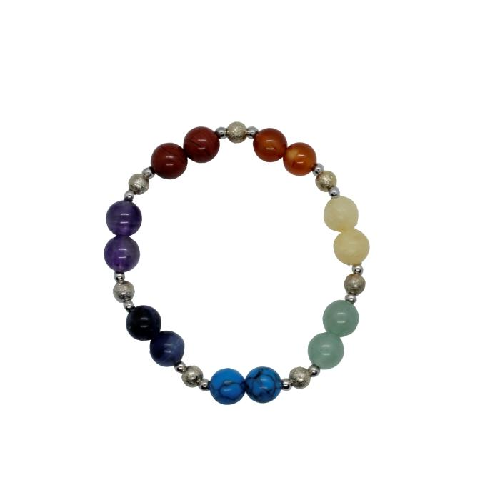 Pulsera mineral chakras bola con charms