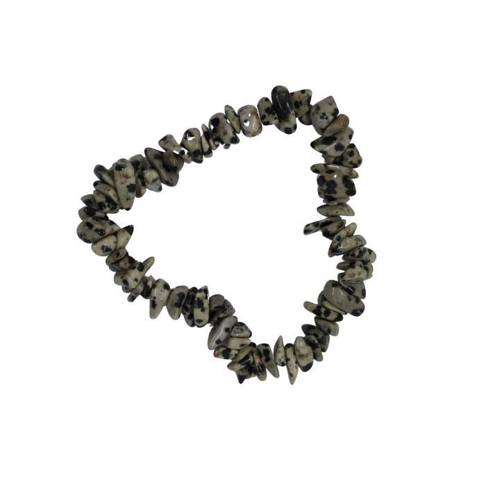 Pulsera mineral chip de jaspe dálmata