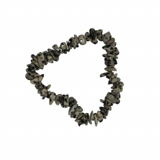 Pulsera mineral chip de jaspe dálmata [0]