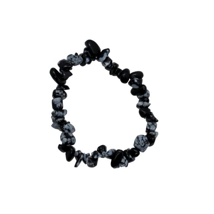 Pulsera mineral chip de obsidiana nevada