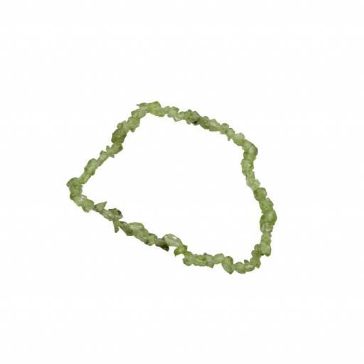 Pulsera mineral chip de olivino