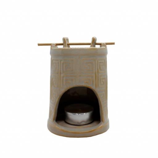Quemador de esencias cerámica marrón [1]