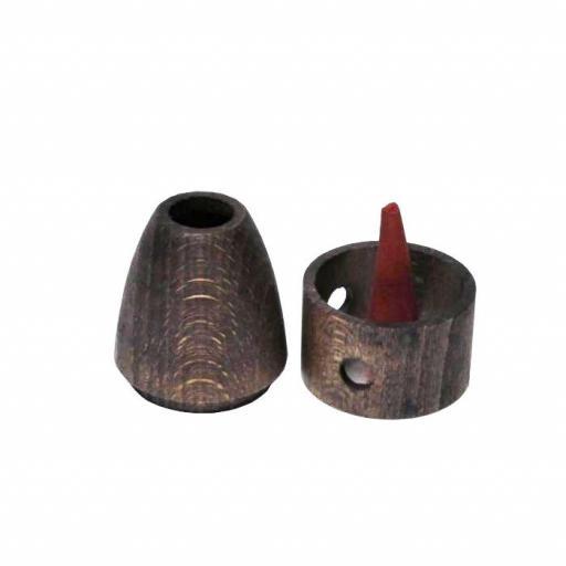 Quemador de incienso de madera liso para conos  [1]