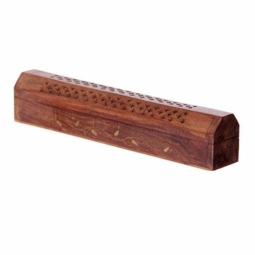 Quemador de Incienso Caja de Madera con Diseño Parra