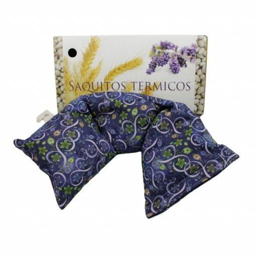 Saquito térmico azul con motivos florales