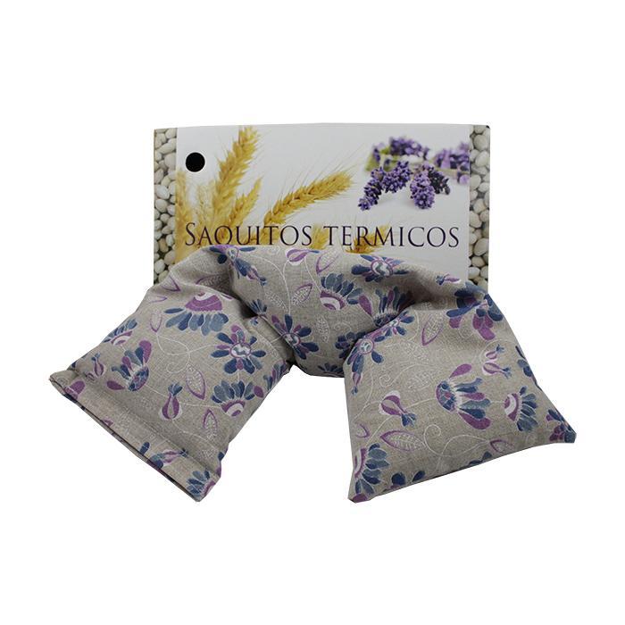 Saquito Térmico con Dibujo de Flores y Hojas Azules y Lilas