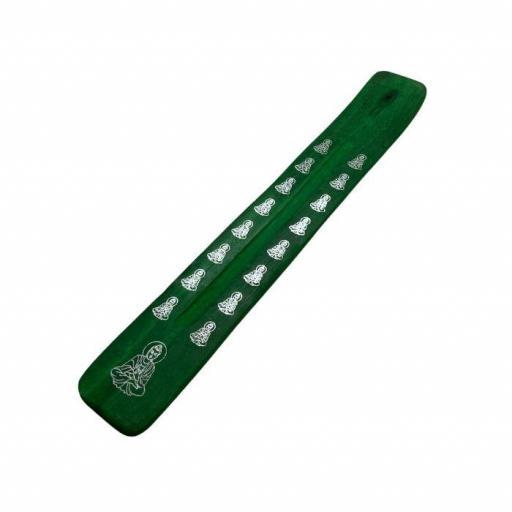 Tablilla para quemar incienso de color verde con Buda