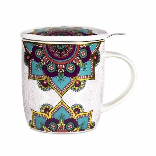 Taza con mandala turquesa