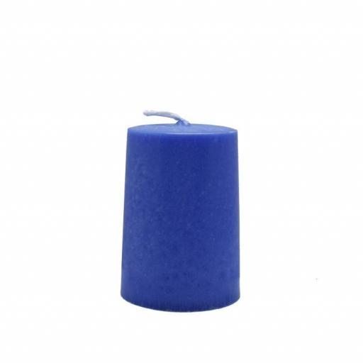 Vela artesanal cilindro azul