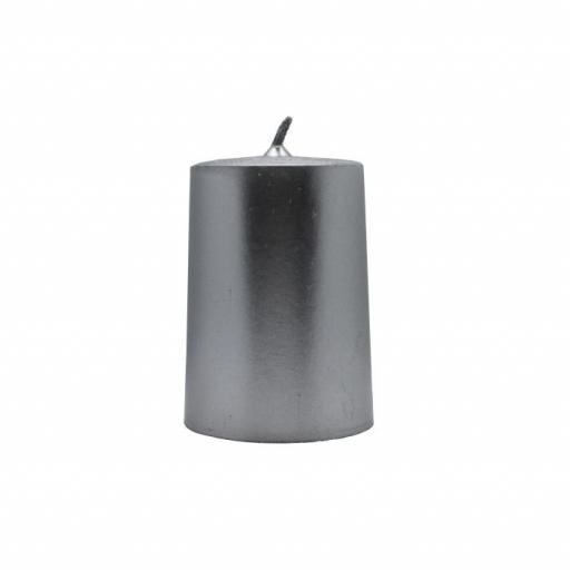 Vela artesanal cilindro plateada