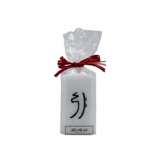 Vela artesanal con símbolo Sei He Ki [0]