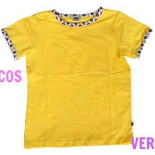 Camiseta Lisa con Cuello Apples. Color Amarillo
