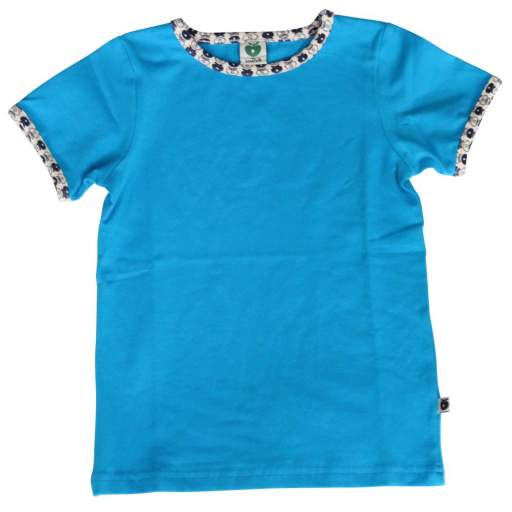 Camiseta Lisa con Cuello Apples. Color Azul Turquesa