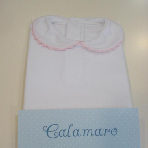 Body Cuello Piconela. Color Blanco/Rosa. Calamaro