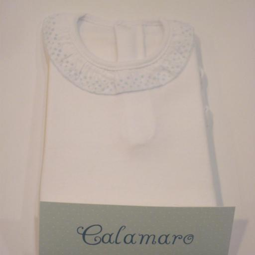 Body Cuello Puntilla. Color Celeste. Calamaro.