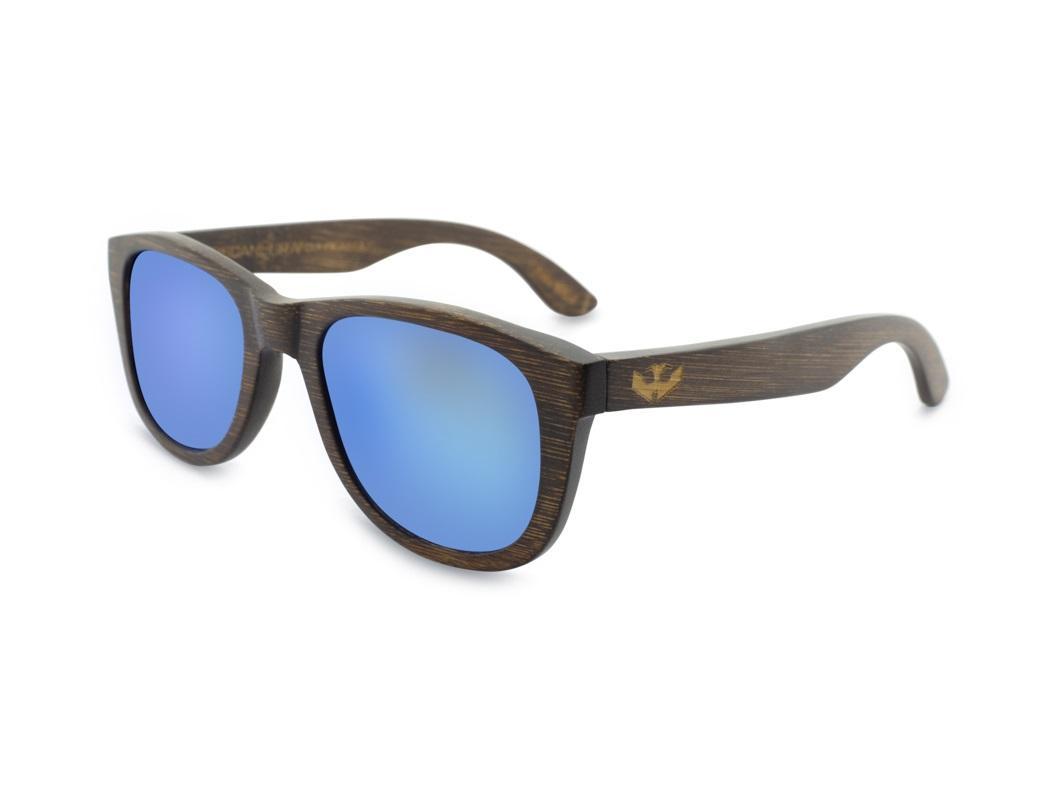 Gafas de Bambú - Brown Bamboo and Ice Blue - Polarized