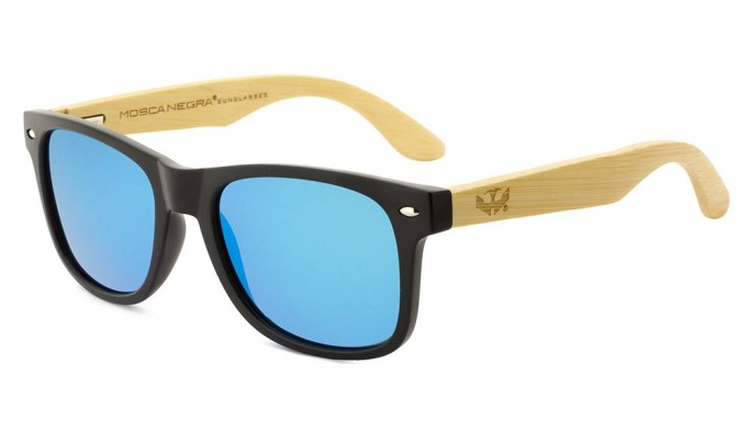 Gafas de madera Mix - Solid Black and Ice Blue - Polarized [0]