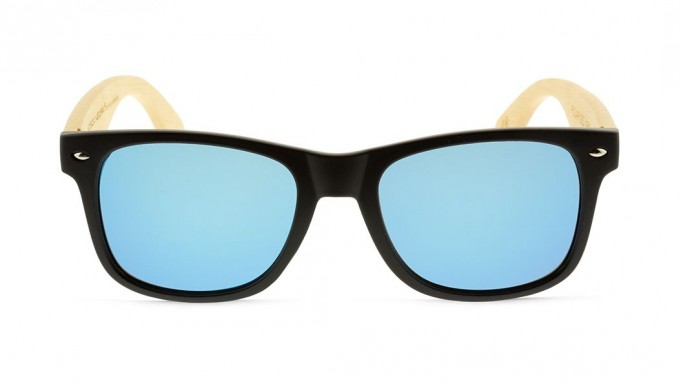 Gafas de madera Mix - Solid Black and Ice Blue - Polarized [1]