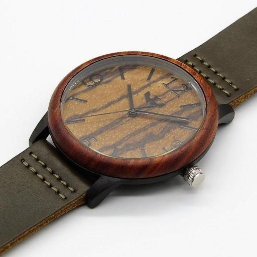 Reloj de madera y acero FUSION BLACK 01 + correa intercambiable gratis [2]