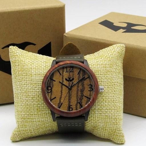 Reloj de madera y acero FUSION BLACK 01 + correa intercambiable gratis