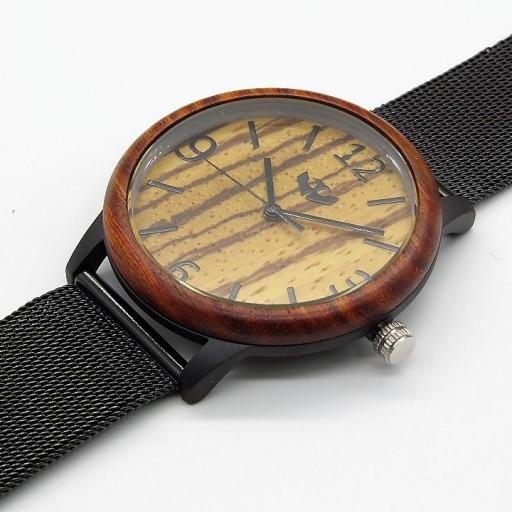 Reloj de madera y acero FUSION BLACK 06 + correa intercambiable gratis [2]