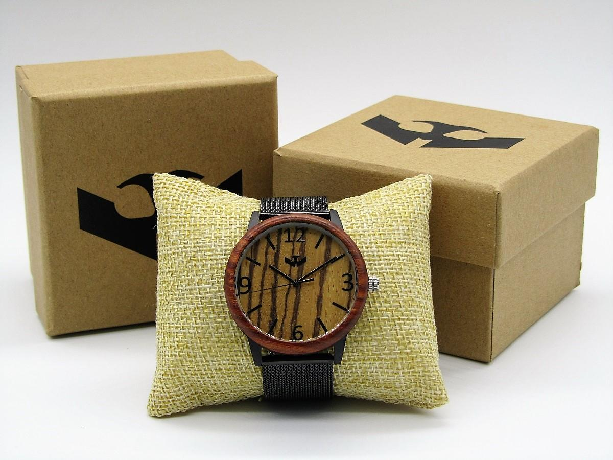 Reloj de madera y acero FUSION BLACK 06 + correa intercambiable gratis