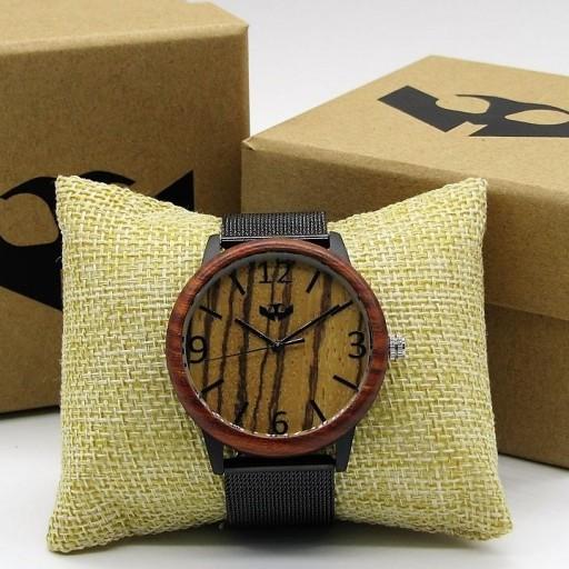 Reloj de madera y acero FUSION BLACK 06 + correa intercambiable gratis [0]
