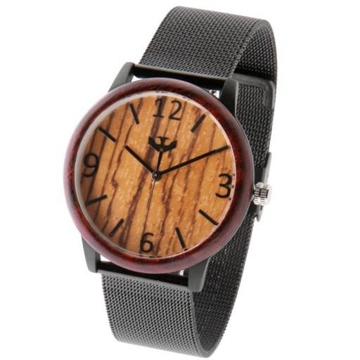 Reloj de madera y acero FUSION BLACK 06 + correa intercambiable gratis [3]
