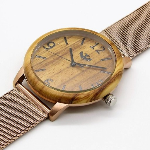 Reloj de madera y acero FUSION ROSE GOLD 04 + correa intercambiable gratis [2]