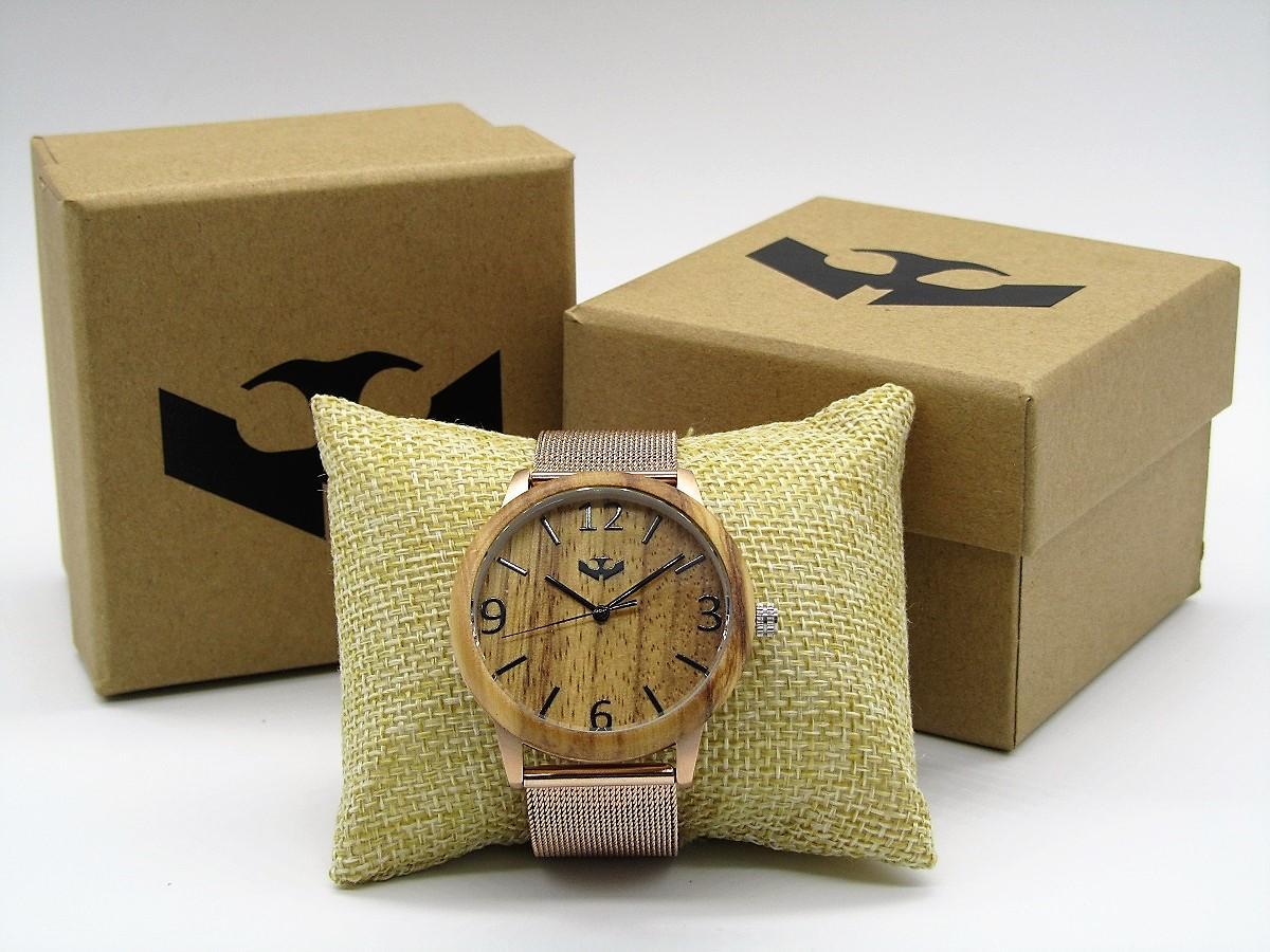 Reloj de madera y acero FUSION ROSE GOLD 04 + correa intercambiable gratis