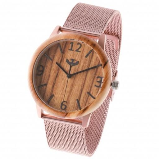 Reloj de madera y acero FUSION ROSE GOLD 04 + correa intercambiable gratis [3]