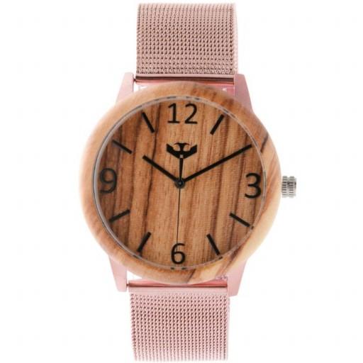 Reloj de madera y acero FUSION ROSE GOLD 04 + correa intercambiable gratis [1]