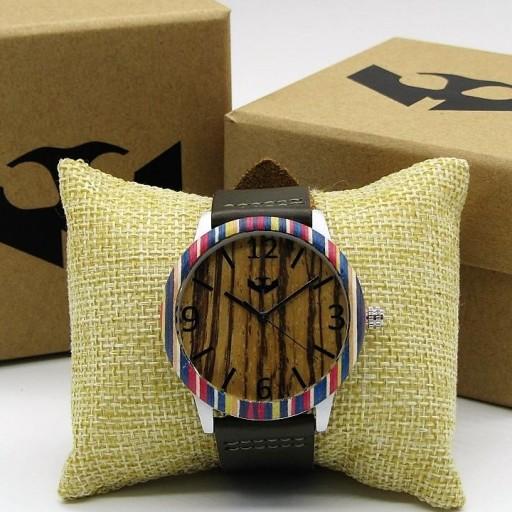 Reloj de madera y acero FUSION SKATE 01 + correa intercambiable gratis