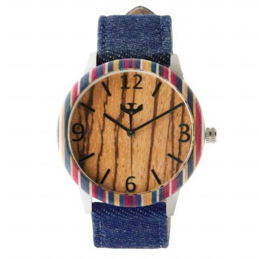Reloj de madera y acero FUSION SKATE 07 + correa intercambiable gratis
