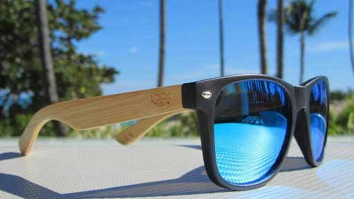 Gafas de madera Mix - Solid Black and Ice Blue - Polarized [3]
