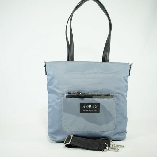 Bolso shopper de brazo y bandolera bets nylon summer azul jeans (1).JPG
