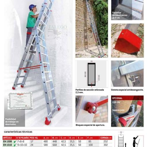 Escalera de aluminio 3 tramos profesional ex-en1500 [1]