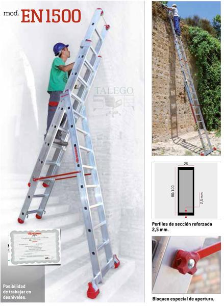 Escalera de aluminio 3 tramos profesional ex-en1500