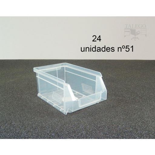 Gaveta apilable 51. Lote de 24 unidades (80hx170x100mm) Transparente Ty-gaveta51Transp 24/u