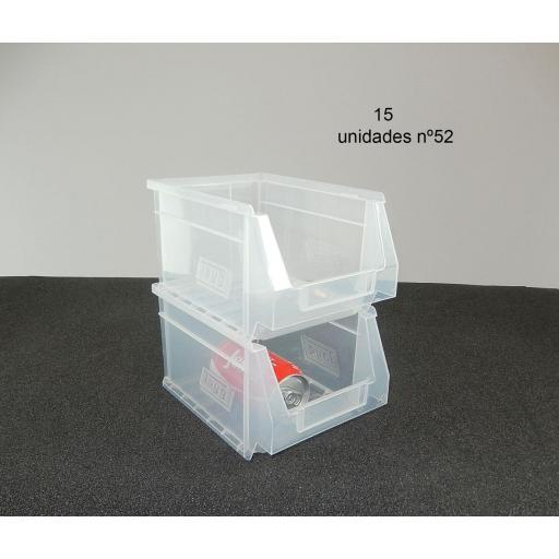Gaveta apilable 52. Lote de 15 unidades Transparente (13hx23.6x16cm) Ty-gaveta52Transp 15/u [2]
