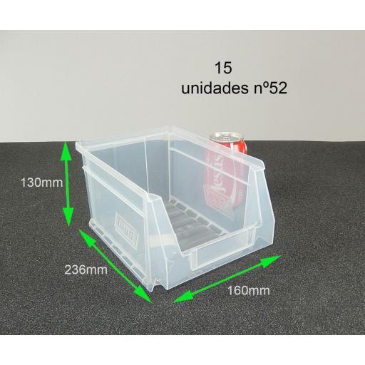 Gaveta apilable 52. Lote de 15 unidades Transparente (13hx23.6x16cm) Ty-gaveta52Transp 15/u [1]