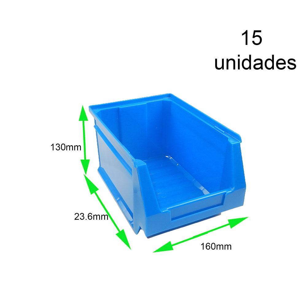 Gaveta apilable 52. Lote de 15 unidades (13hx23.6x16cm) Azul Ty-gaveta52 15/u