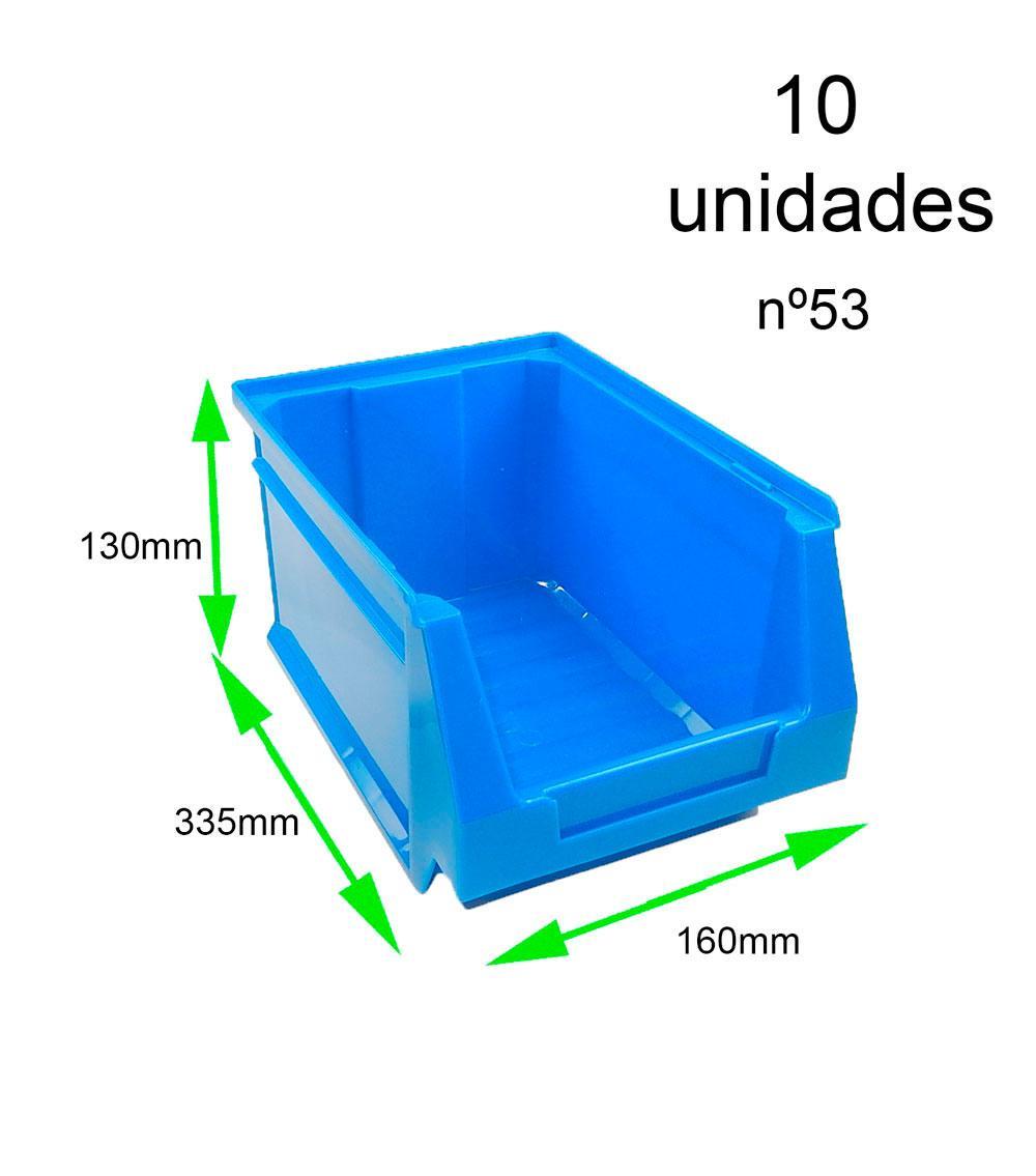 Gaveta apilable 53. Lote de 10 unidades (13hx16x33.6cm) Azul Ty-gaveta53 10/u