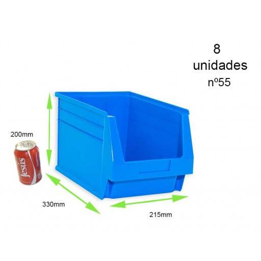 Gaveta apilable 55. Lote de 8 unidades (20hx33.6x21.6cm) Azul Ty-gaveta55 8/u [2]