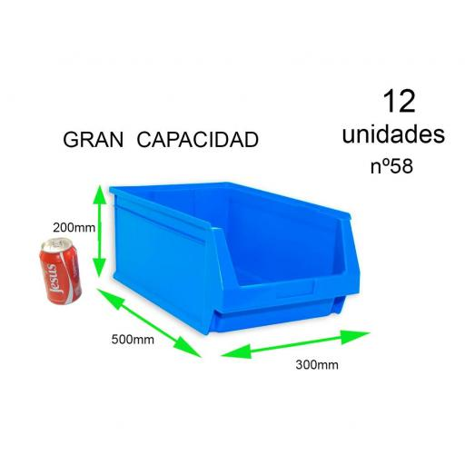 Gaveta apilable 58. Lote de 12 unidades (20hx50x30cm) Azul Ty-gaveta58 12/u [3]