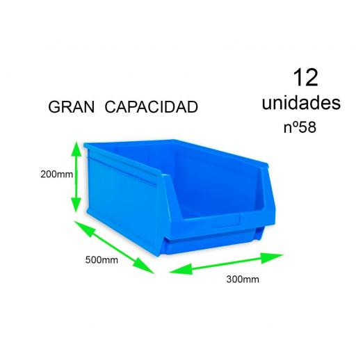 Gaveta apilable 58. Lote de 12 unidades (20hx50x30cm) Azul Ty-gaveta58 12/u