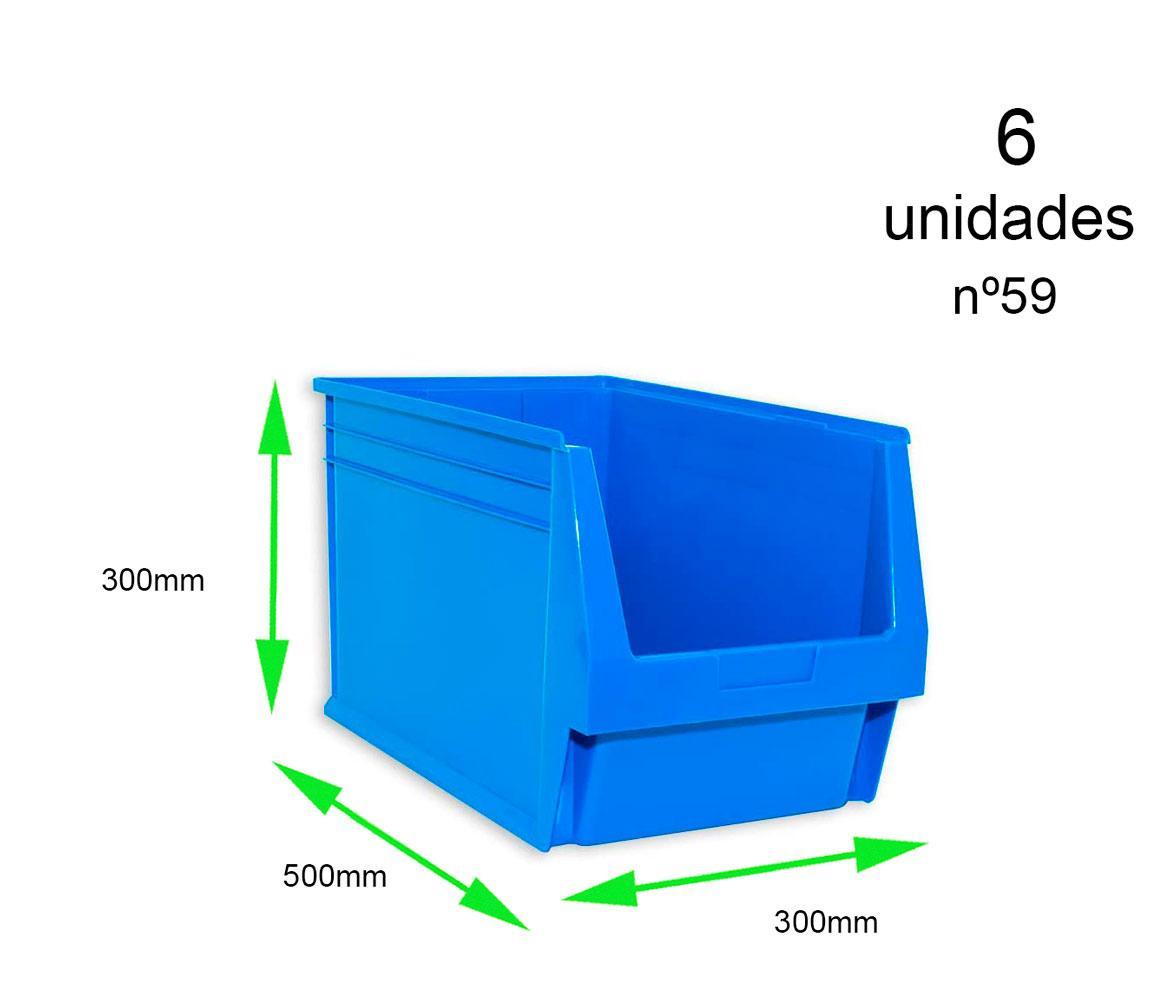 Gaveta apilable 59. Lote de 6 unidades (30hx50x30cm) Azul Ty-gaveta59 6/u