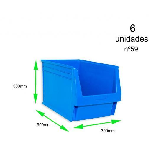 Gaveta apilable 59. Lote de 6 unidades (30hx50x30cm) Azul Ty-gaveta59 6/u [0]
